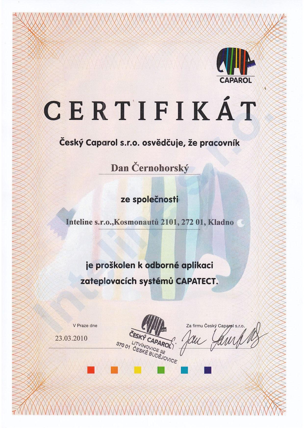 Certifikát Caparol Capatect