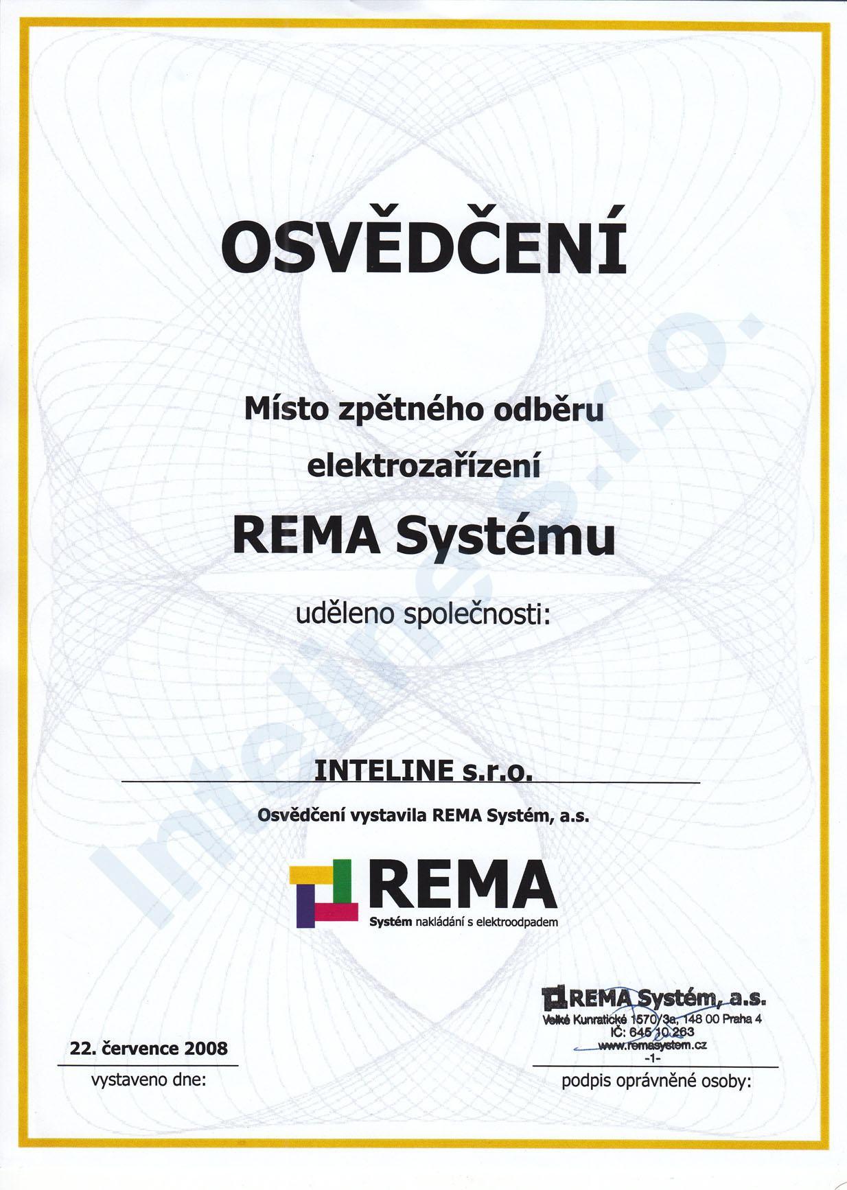 Osvědčení Rema Systém